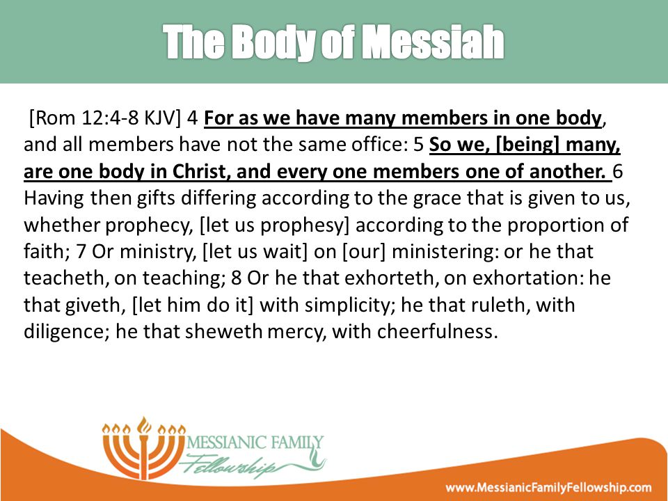 [Rom 12:4-8 KJV] 4 For as we have many members in one body, and all members have not the same office: 5 So we, [being] many, are one body in Christ, and every one members one of another.