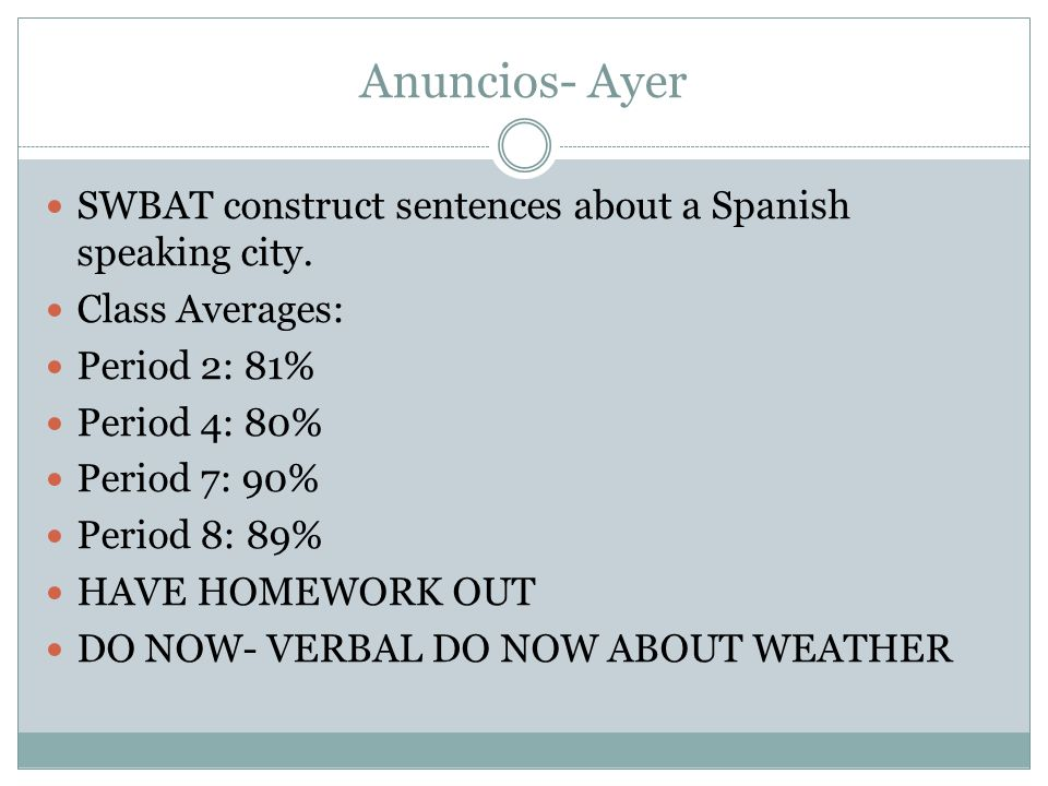 Anuncios- Ayer SWBAT construct sentences about a Spanish speaking city.