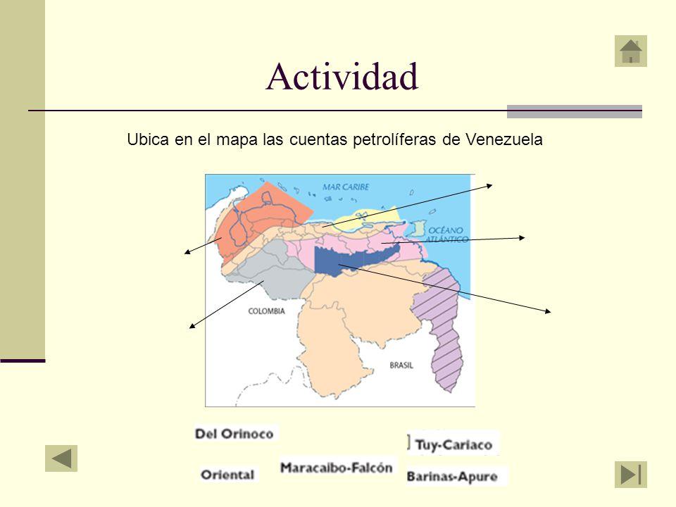 Actividad Ubica en el mapa las cuentas petrolíferas de Venezuela