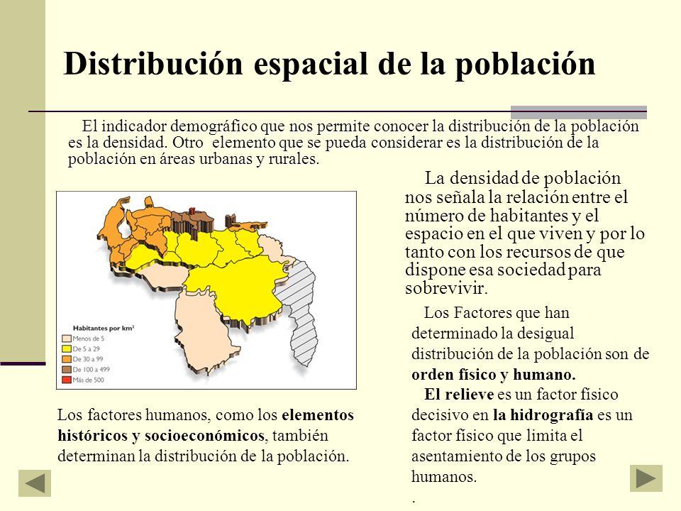 Distribución espacial de la población La densidad de población nos señala la relación entre el número de habitantes y el espacio en el que viven y por