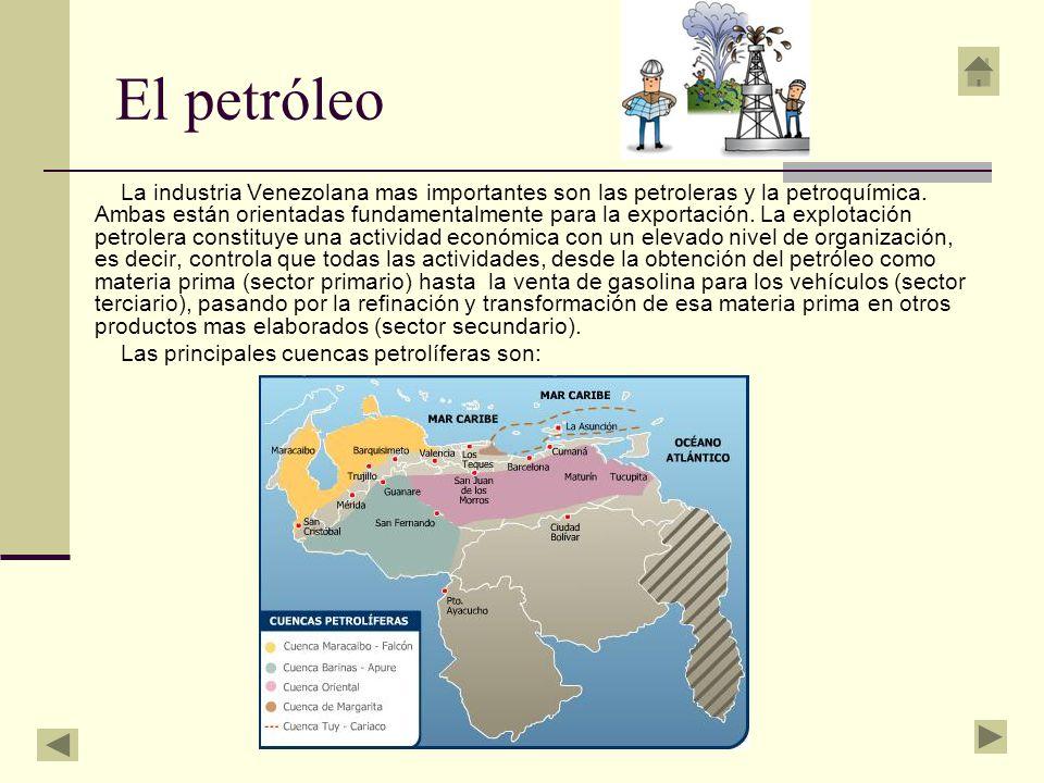 El petróleo La industria Venezolana mas importantes son las petroleras y la petroquímica. Ambas están orientadas fundamentalmente para la exportación.