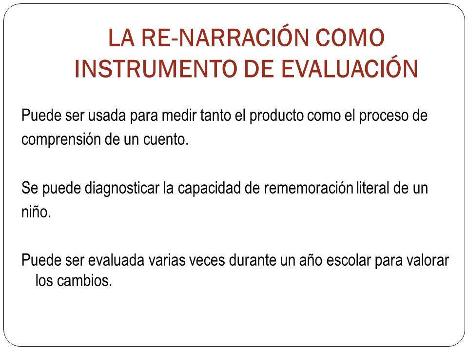 LA RE-NARRACIÓN COMO INSTRUMENTO DE EVALUACIÓN Puede ser usada para medir tanto el producto como el proceso de comprensión de un cuento.