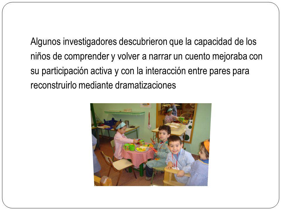 Algunos investigadores descubrieron que la capacidad de los niños de comprender y volver a narrar un cuento mejoraba con su participación activa y con la interacción entre pares para reconstruirlo mediante dramatizaciones
