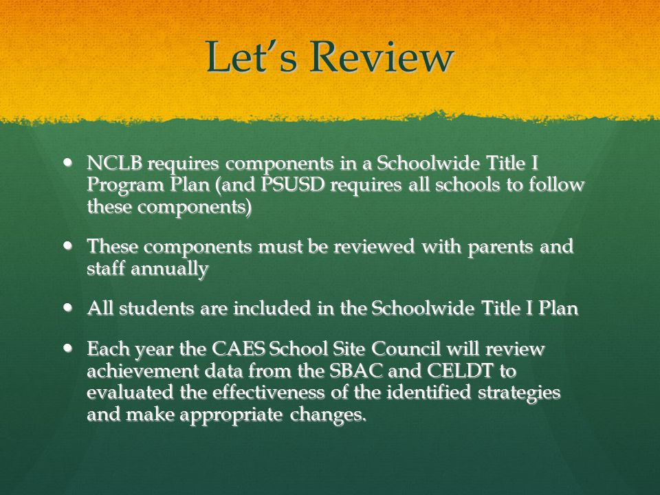 Let's Review NCLB requires components in a Schoolwide Title I Program Plan (and PSUSD requires all schools to follow these components) NCLB requires components in a Schoolwide Title I Program Plan (and PSUSD requires all schools to follow these components) These components must be reviewed with parents and staff annually These components must be reviewed with parents and staff annually All students are included in the Schoolwide Title I Plan All students are included in the Schoolwide Title I Plan Each year the CAES School Site Council will review achievement data from the SBAC and CELDT to evaluated the effectiveness of the identified strategies and make appropriate changes.