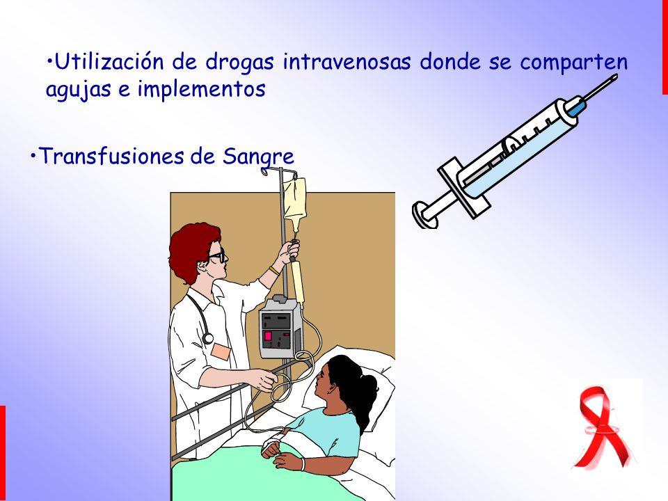 Utilización de drogas intravenosas donde se comparten agujas e implementos Transfusiones de Sangre