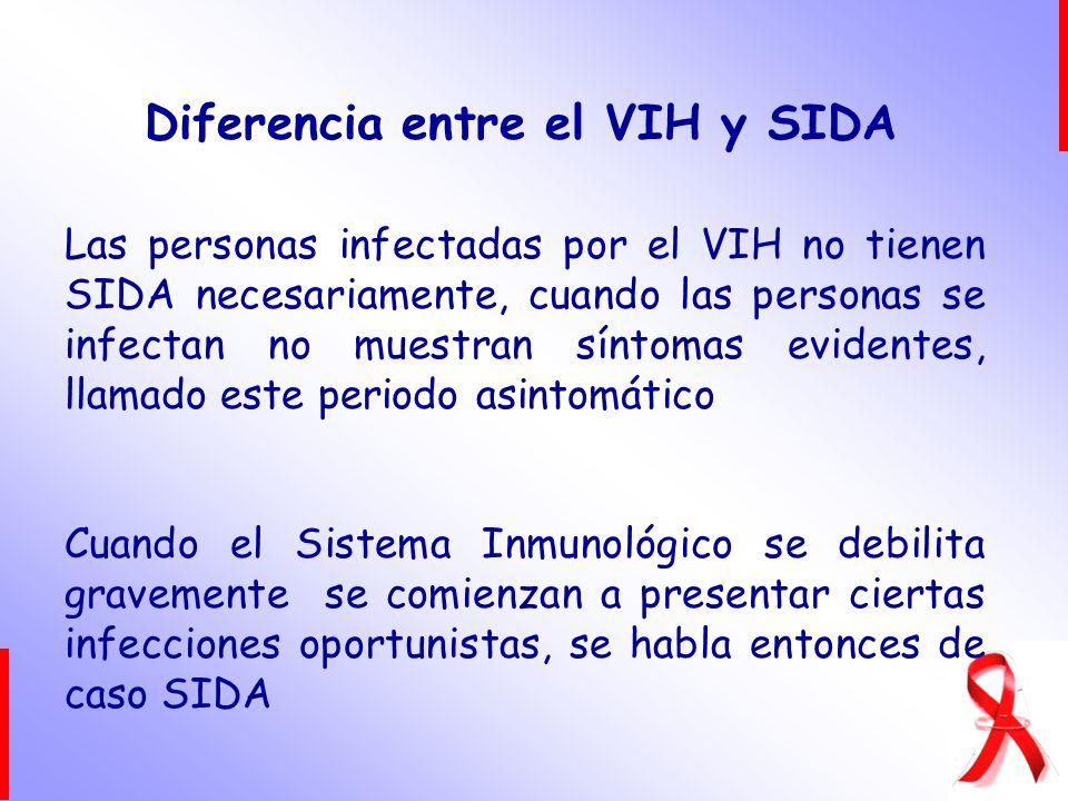 Las personas infectadas por el VIH no tienen SIDA necesariamente, cuando las personas se infectan no muestran síntomas evidentes, llamado este periodo