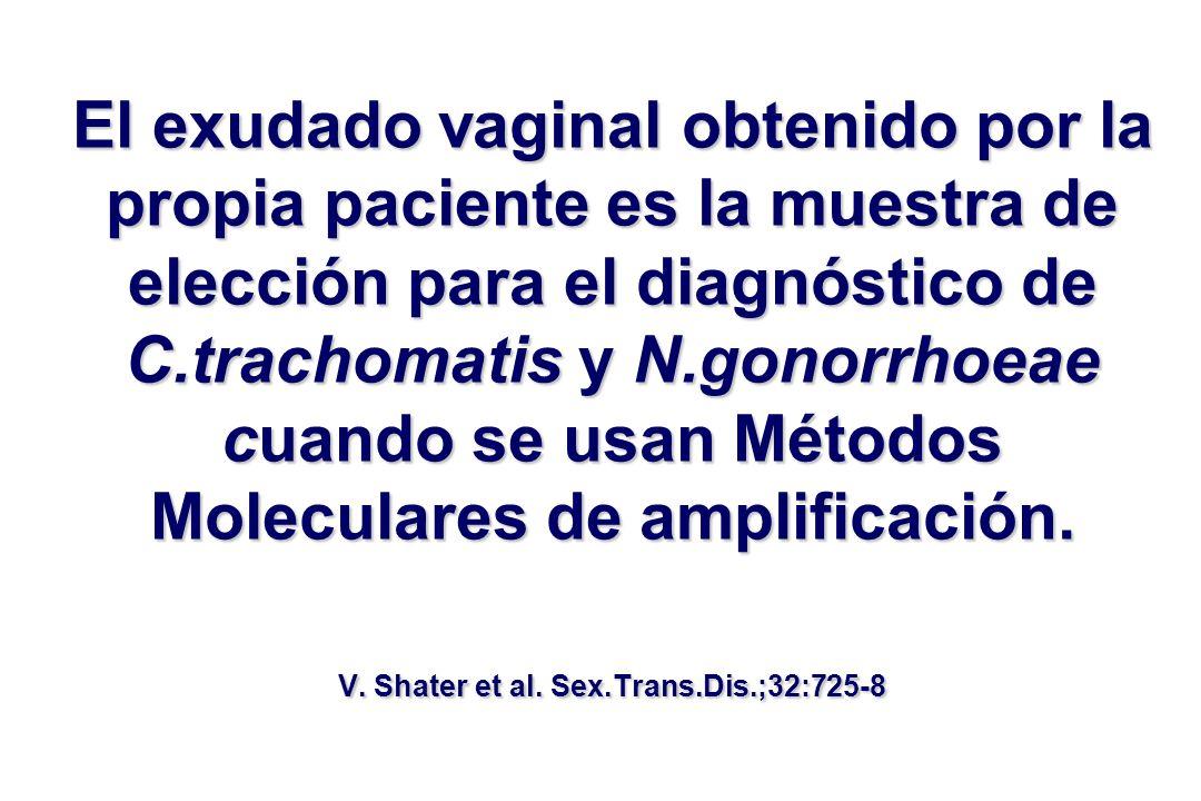 El exudado vaginal obtenido por la propia paciente es la muestra de elección para el diagnóstico de C.trachomatis y N.gonorrhoeae cuando se usan Métod