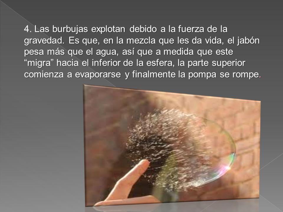 Las burbujas explotan debido a la fuerza de la gravedad.