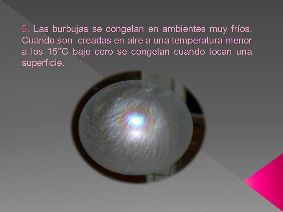 5.Las burbujas se congelan en ambientes muy fríos.