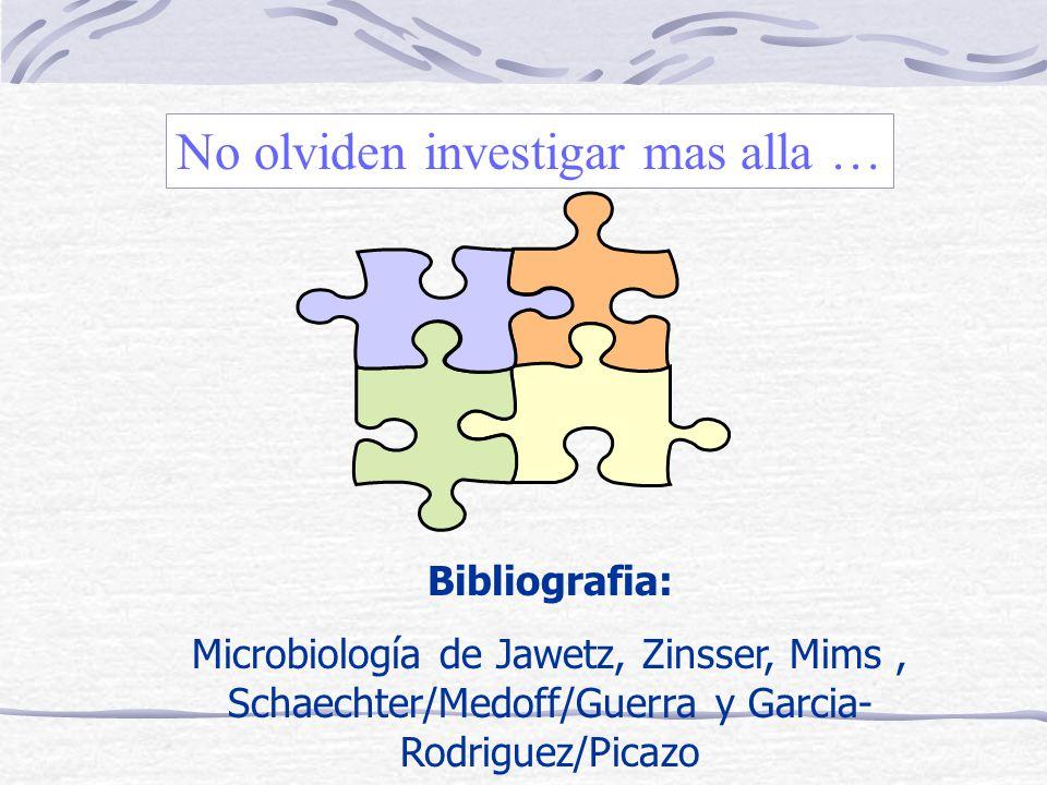 No olviden investigar mas alla … Bibliografia: Microbiología de Jawetz, Zinsser, Mims, Schaechter/Medoff/Guerra y Garcia- Rodriguez/Picazo