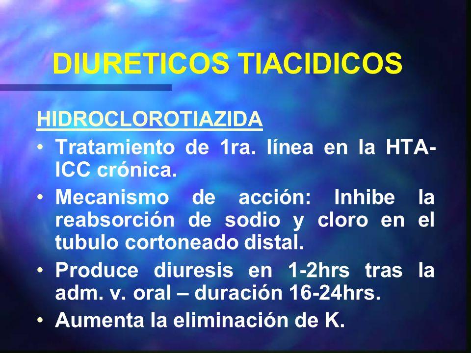 DIURETICOS TIACIDICOS HIDROCLOROTIAZIDA Tratamiento de 1ra.