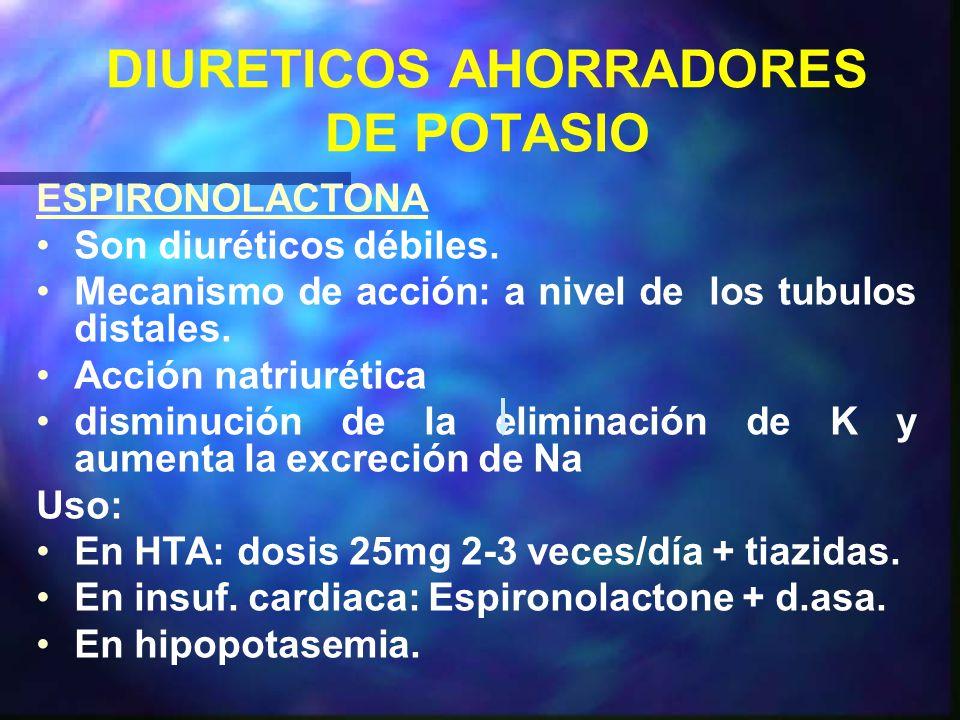 DIURETICOS AHORRADORES DE POTASIO ESPIRONOLACTONA Son diuréticos débiles.
