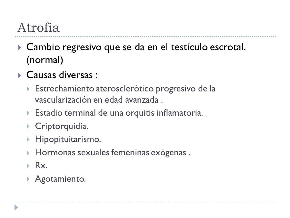 Atrofia  Cambio regresivo que se da en el testículo escrotal. (normal)  Causas diversas :  Estrechamiento aterosclerótico progresivo de la vascular