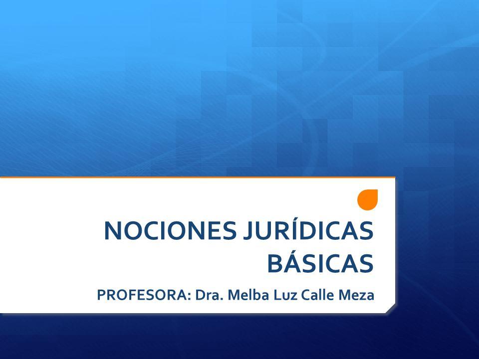 NOCIONES JURÍDICAS BÁSICAS PROFESORA: Dra. Melba Luz Calle Meza
