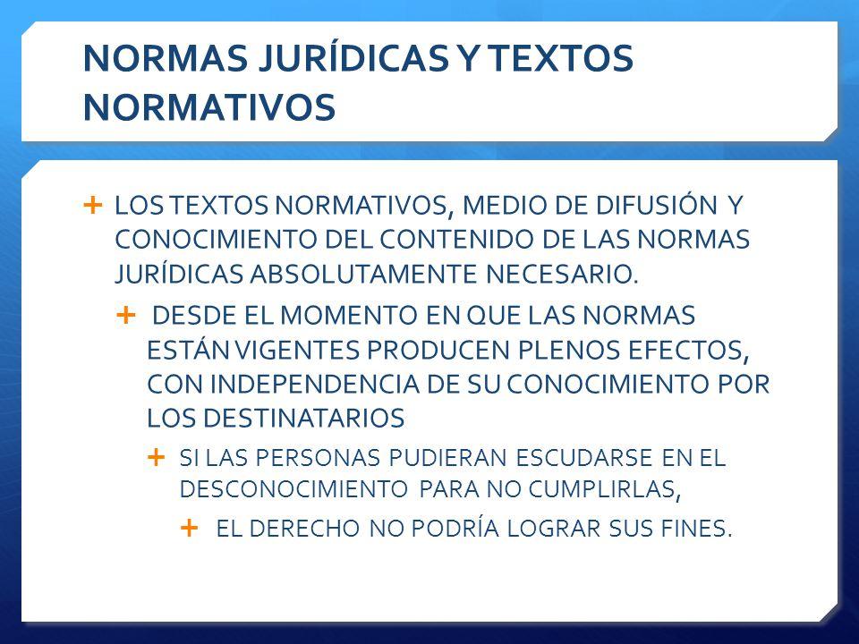NORMAS JURÍDICAS Y TEXTOS NORMATIVOS  LOS TEXTOS NORMATIVOS, MEDIO DE DIFUSIÓN Y CONOCIMIENTO DEL CONTENIDO DE LAS NORMAS JURÍDICAS ABSOLUTAMENTE NECESARIO.