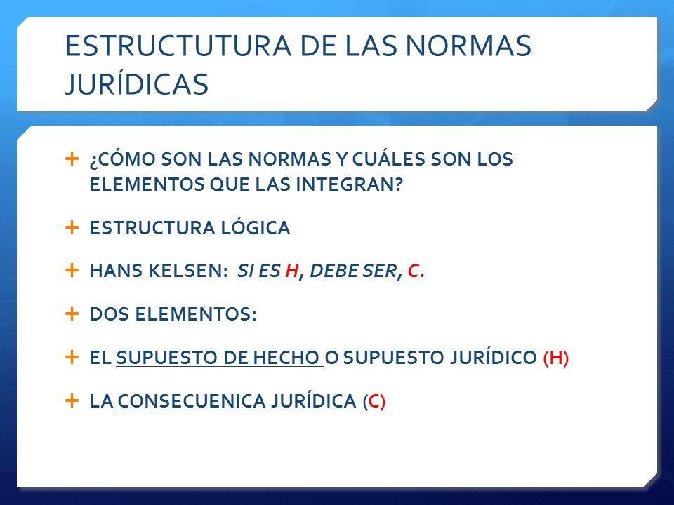 ESTRUCTUTURA DE LAS NORMAS JURÍDICAS  ¿CÓMO SON LAS NORMAS Y CUÁLES SON LOS ELEMENTOS QUE LAS INTEGRAN.