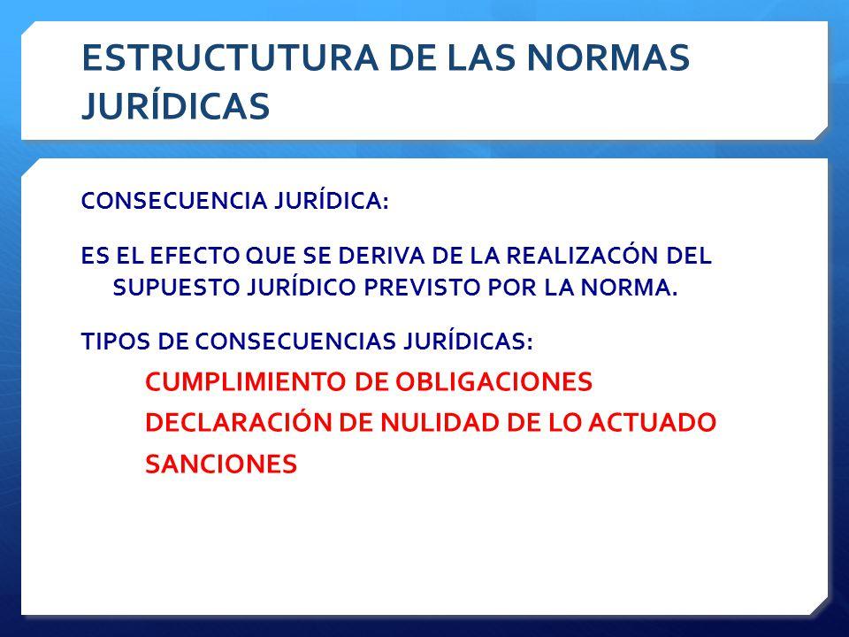 ESTRUCTUTURA DE LAS NORMAS JURÍDICAS CONSECUENCIA JURÍDICA: ES EL EFECTO QUE SE DERIVA DE LA REALIZACÓN DEL SUPUESTO JURÍDICO PREVISTO POR LA NORMA.