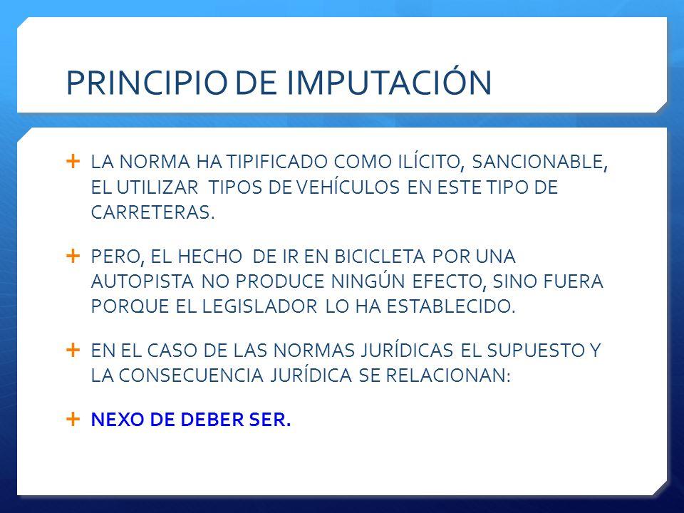 PRINCIPIO DE IMPUTACIÓN  LA NORMA HA TIPIFICADO COMO ILÍCITO, SANCIONABLE, EL UTILIZAR TIPOS DE VEHÍCULOS EN ESTE TIPO DE CARRETERAS.