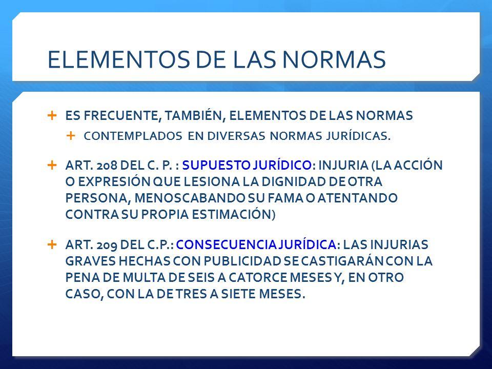 ELEMENTOS DE LAS NORMAS  ES FRECUENTE, TAMBIÉN, ELEMENTOS DE LAS NORMAS  CONTEMPLADOS EN DIVERSAS NORMAS JURÍDICAS.