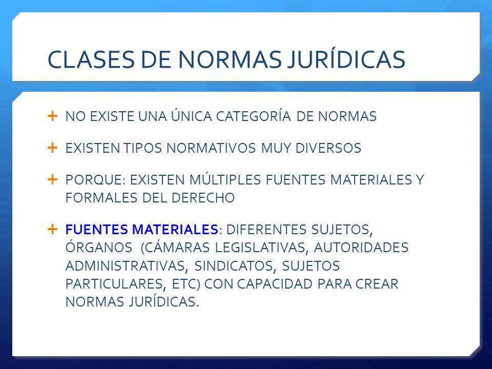 CLASES DE NORMAS JURÍDICAS  NO EXISTE UNA ÚNICA CATEGORÍA DE NORMAS  EXISTEN TIPOS NORMATIVOS MUY DIVERSOS  PORQUE: EXISTEN MÚLTIPLES FUENTES MATERIALES Y FORMALES DEL DERECHO  FUENTES MATERIALES: DIFERENTES SUJETOS, ÓRGANOS (CÁMARAS LEGISLATIVAS, AUTORIDADES ADMINISTRATIVAS, SINDICATOS, SUJETOS PARTICULARES, ETC) CON CAPACIDAD PARA CREAR NORMAS JURÍDICAS.