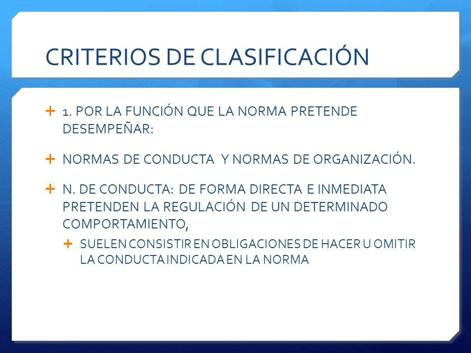 CRITERIOS DE CLASIFICACIÓN  1.