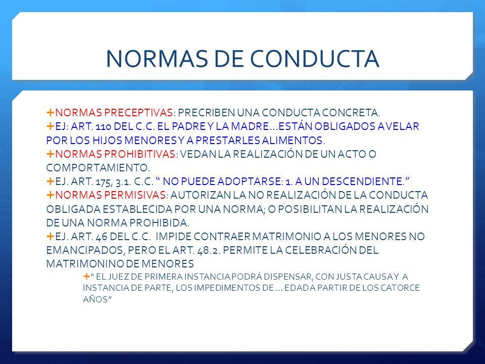NORMAS DE CONDUCTA  NORMAS PRECEPTIVAS: PRECRIBEN UNA CONDUCTA CONCRETA.