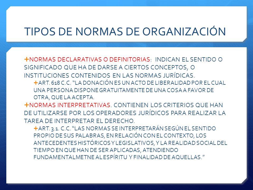 TIPOS DE NORMAS DE ORGANIZACIÓN  NORMAS DECLARATIVAS O DEFINITORIAS: INDICAN EL SENTIDO O SIGNIFICADO QUE HA DE DARSE A CIERTOS CONCEPTOS, O INSTITUCIONES CONTENIDOS EN LAS NORMAS JURÍDICAS.