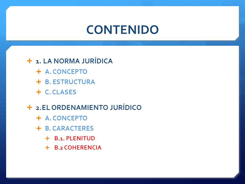 CONTENIDO  1.LA NORMA JURÍDICA  A. CONCEPTO  B.