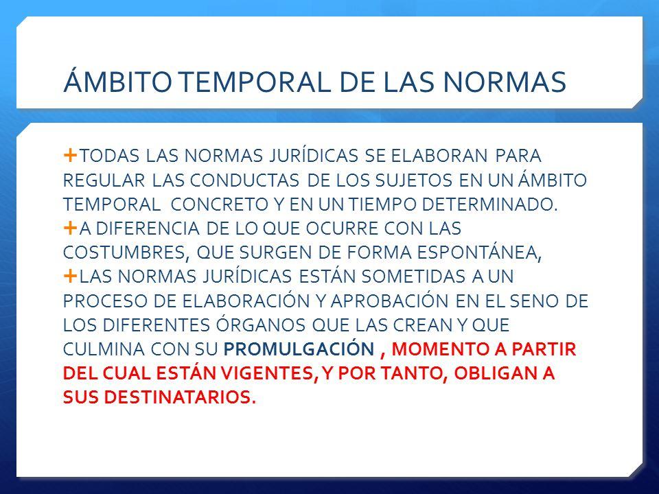 ÁMBITO TEMPORAL DE LAS NORMAS  TODAS LAS NORMAS JURÍDICAS SE ELABORAN PARA REGULAR LAS CONDUCTAS DE LOS SUJETOS EN UN ÁMBITO TEMPORAL CONCRETO Y EN UN TIEMPO DETERMINADO.