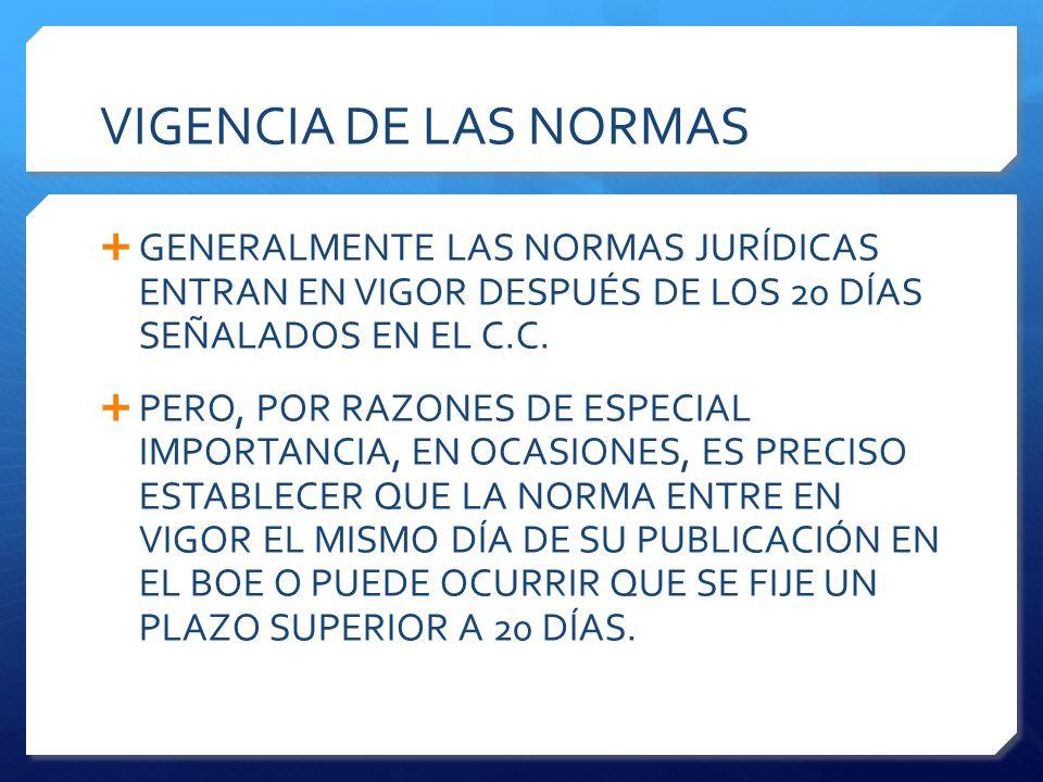 VIGENCIA DE LAS NORMAS  GENERALMENTE LAS NORMAS JURÍDICAS ENTRAN EN VIGOR DESPUÉS DE LOS 20 DÍAS SEÑALADOS EN EL C.C.