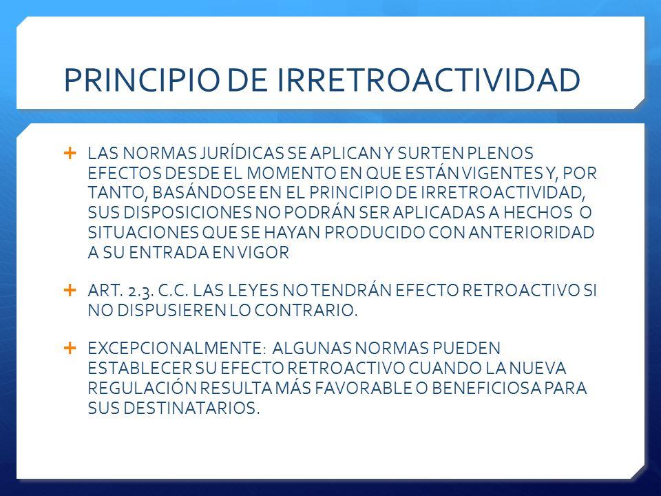 PRINCIPIO DE IRRETROACTIVIDAD  LAS NORMAS JURÍDICAS SE APLICAN Y SURTEN PLENOS EFECTOS DESDE EL MOMENTO EN QUE ESTÁN VIGENTES Y, POR TANTO, BASÁNDOSE EN EL PRINCIPIO DE IRRETROACTIVIDAD, SUS DISPOSICIONES NO PODRÁN SER APLICADAS A HECHOS O SITUACIONES QUE SE HAYAN PRODUCIDO CON ANTERIORIDAD A SU ENTRADA EN VIGOR  ART.