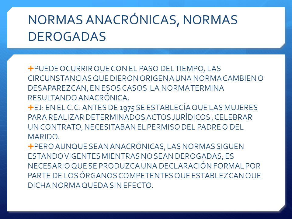 NORMAS ANACRÓNICAS, NORMAS DEROGADAS  PUEDE OCURRIR QUE CON EL PASO DEL TIEMPO, LAS CIRCUNSTANCIAS QUE DIERON ORIGEN A UNA NORMA CAMBIEN O DESAPAREZCAN, EN ESOS CASOS LA NORMA TERMINA RESULTANDO ANACRÓNICA.
