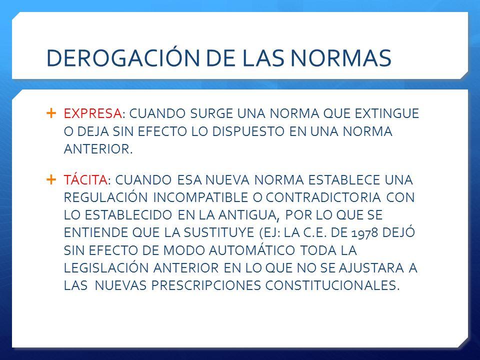 DEROGACIÓN DE LAS NORMAS  EXPRESA: CUANDO SURGE UNA NORMA QUE EXTINGUE O DEJA SIN EFECTO LO DISPUESTO EN UNA NORMA ANTERIOR.