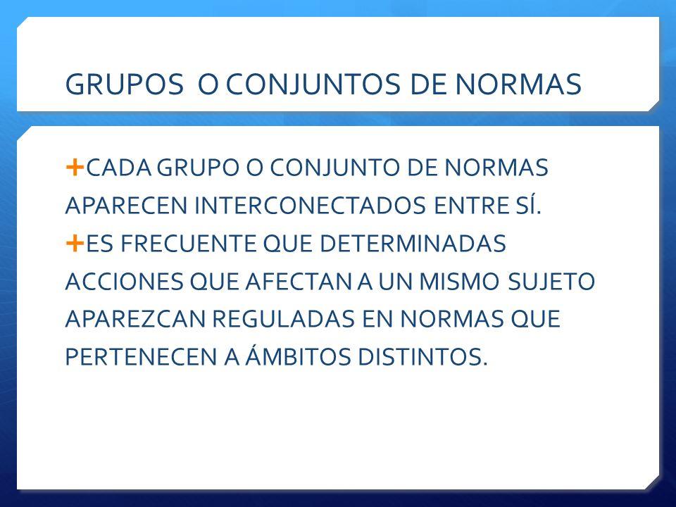 GRUPOS O CONJUNTOS DE NORMAS  CADA GRUPO O CONJUNTO DE NORMAS APARECEN INTERCONECTADOS ENTRE SÍ.