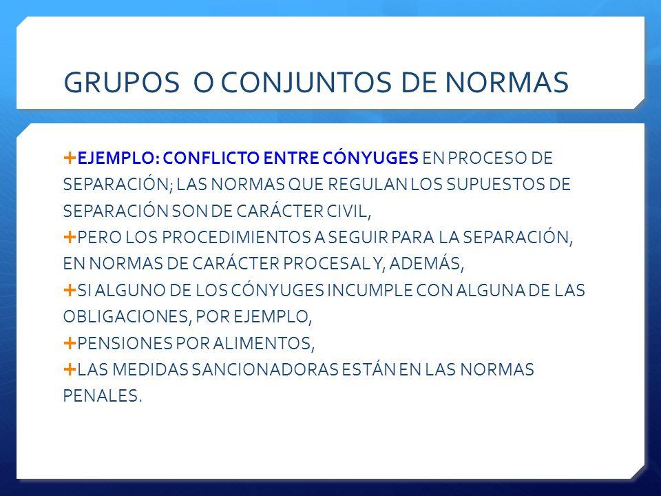 GRUPOS O CONJUNTOS DE NORMAS  EJEMPLO: CONFLICTO ENTRE CÓNYUGES EN PROCESO DE SEPARACIÓN; LAS NORMAS QUE REGULAN LOS SUPUESTOS DE SEPARACIÓN SON DE CARÁCTER CIVIL,  PERO LOS PROCEDIMIENTOS A SEGUIR PARA LA SEPARACIÓN, EN NORMAS DE CARÁCTER PROCESAL Y, ADEMÁS,  SI ALGUNO DE LOS CÓNYUGES INCUMPLE CON ALGUNA DE LAS OBLIGACIONES, POR EJEMPLO,  PENSIONES POR ALIMENTOS,  LAS MEDIDAS SANCIONADORAS ESTÁN EN LAS NORMAS PENALES.