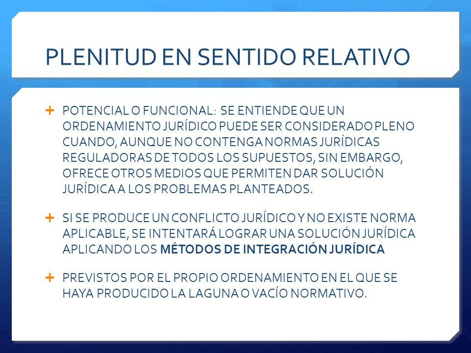 PLENITUD EN SENTIDO RELATIVO  POTENCIAL O FUNCIONAL: SE ENTIENDE QUE UN ORDENAMIENTO JURÍDICO PUEDE SER CONSIDERADO PLENO CUANDO, AUNQUE NO CONTENGA NORMAS JURÍDICAS REGULADORAS DE TODOS LOS SUPUESTOS, SIN EMBARGO, OFRECE OTROS MEDIOS QUE PERMITEN DAR SOLUCIÓN JURÍDICA A LOS PROBLEMAS PLANTEADOS.