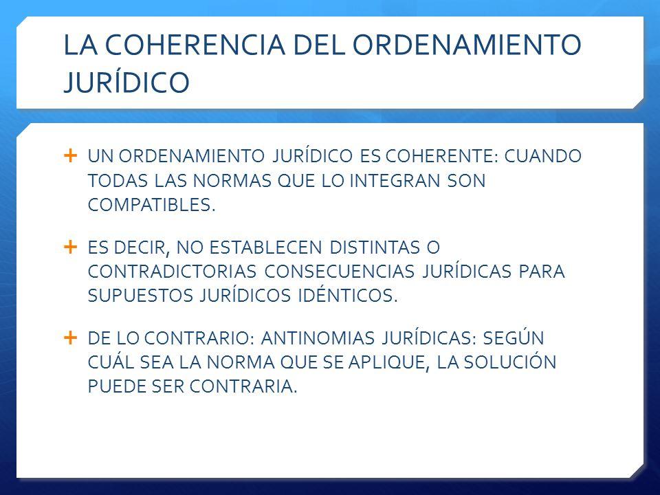 LA COHERENCIA DEL ORDENAMIENTO JURÍDICO  UN ORDENAMIENTO JURÍDICO ES COHERENTE: CUANDO TODAS LAS NORMAS QUE LO INTEGRAN SON COMPATIBLES.