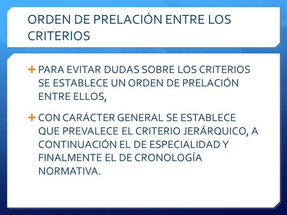ORDEN DE PRELACIÓN ENTRE LOS CRITERIOS  PARA EVITAR DUDAS SOBRE LOS CRITERIOS SE ESTABLECE UN ORDEN DE PRELACIÓN ENTRE ELLOS,  CON CARÁCTER GENERAL SE ESTABLECE QUE PREVALECE EL CRITERIO JERÁRQUICO, A CONTINUACIÓN EL DE ESPECIALIDAD Y FINALMENTE EL DE CRONOLOGÍA NORMATIVA.