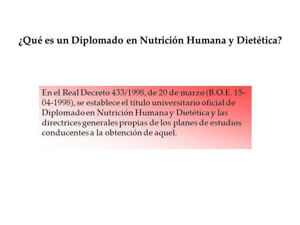 En el Real Decreto 433/1998, de 20 de marzo (B.O.E. 15- 04-1998), se establece el título universitario oficial de Diplomado en Nutrición Humana y Diet