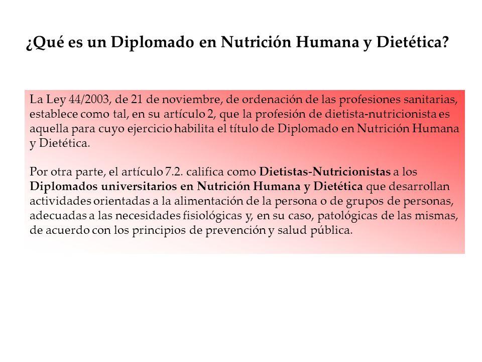 La Ley 44/2003, de 21 de noviembre, de ordenación de las profesiones sanitarias, establece como tal, en su artículo 2, que la profesión de dietista-nu