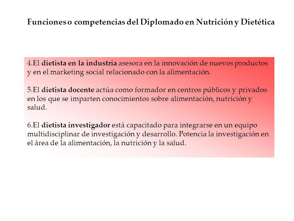 4.El dietista en la industria asesora en la innovación de nuevos productos y en el marketing social relacionado con la alimentación.