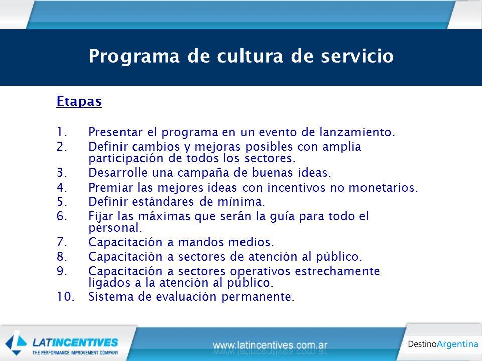 Los 9 motivadores claves para que la calidad de servicio impregne a toda la organización Etapas 1.Presentar el programa en un evento de lanzamiento.