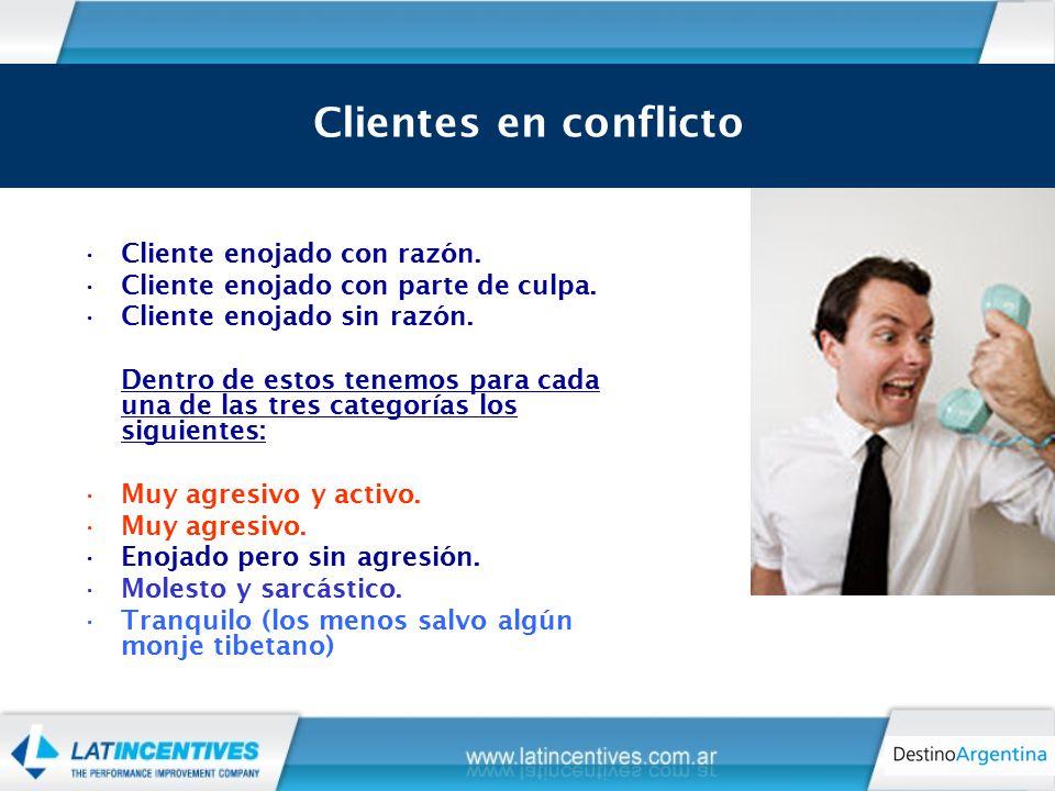 Los tipos de cliente en conflicto Cliente enojado con razón.