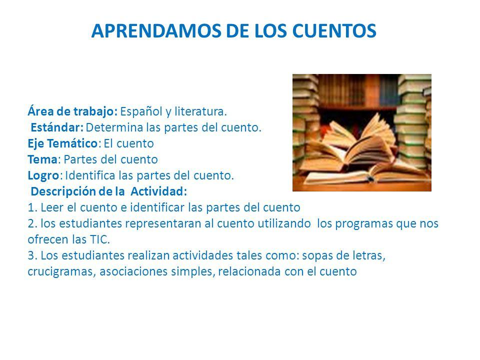 Área de trabajo: Español y literatura. Estándar: Determina las partes del cuento.