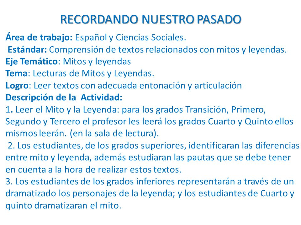 Área de trabajo: Español y Ciencias Sociales.
