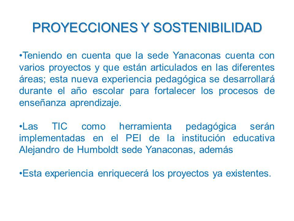 PROYECCIONES Y SOSTENIBILIDAD Teniendo en cuenta que la sede Yanaconas cuenta con varios proyectos y que están articulados en las diferentes áreas; esta nueva experiencia pedagógica se desarrollará durante el año escolar para fortalecer los procesos de enseñanza aprendizaje.