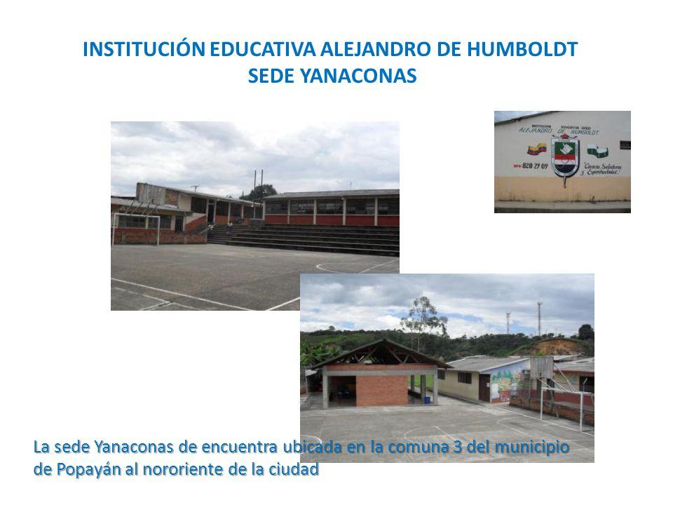 INSTITUCIÓN EDUCATIVA ALEJANDRO DE HUMBOLDT SEDE YANACONAS La sede Yanaconas de encuentra ubicada en la comuna 3 del municipio de Popayán al nororiente de la ciudad