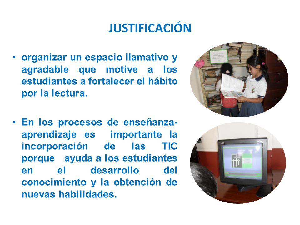 JUSTIFICACIÓN organizar un espacio llamativo y agradable que motive a los estudiantes a fortalecer el hábito por la lectura.