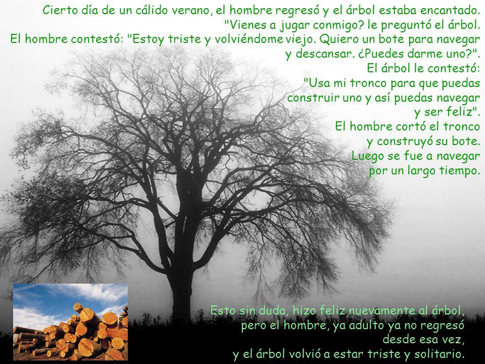 Finalmente el hombre regresó después de muchos años y el árbol le dijo: Lo siento mucho, pero ya no tenga nada que darte ni siquiera manzanas .