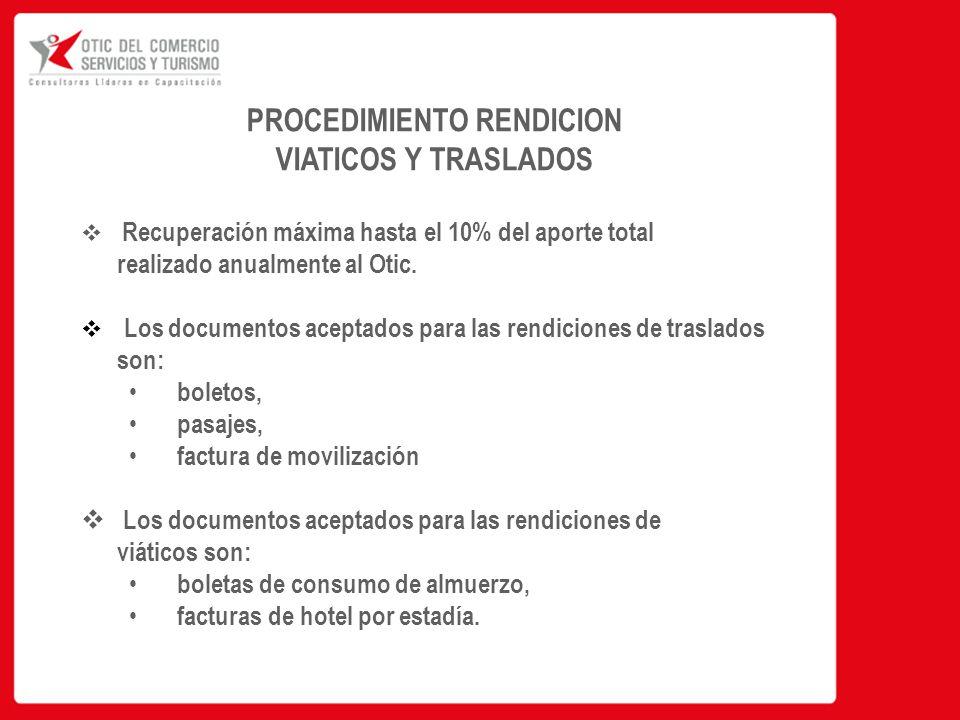 PROCEDIMIENTO RENDICION VIATICOS Y TRASLADOS  Recuperación máxima hasta el 10% del aporte total realizado anualmente al Otic.